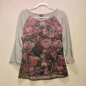 Mid-length Sleeves Floral/Plaid T